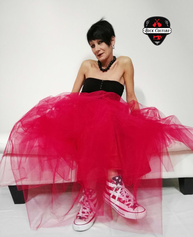 Rock Couture gonna lunga in tulle rosso For Alternative  d1aa6002394