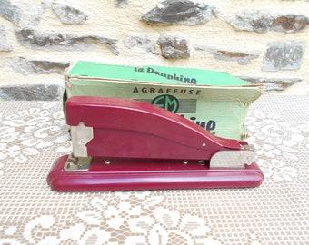 French Vintage Red Stapler. La Dauphine - Paris
