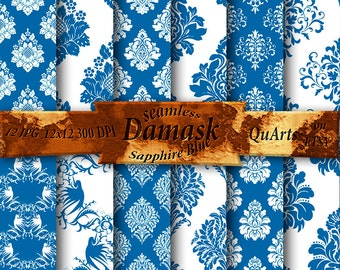 Sapphire Blue Damask Digital Paper Pack - birthday paper Printable Backdrops for Scrapbooking and Cards, Medium Persian blue QuartCrafts