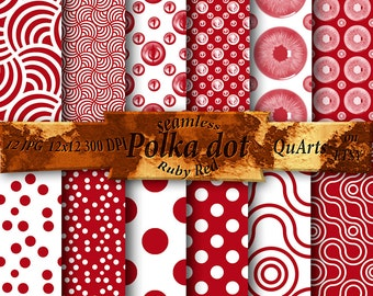 Polka Dot Ruby Red Digital Paper Pack - White and Red Set, Red Printable Patterns Pack, Red and White Scrapbook Paper Set fall digital paper
