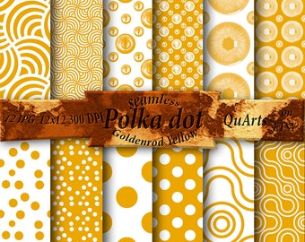 Polka Dot Digital Paper Goldenrod Yellow, Yellow and White Digital Paper, Yellow Printable Patterns, Yellow and White Scrapbook Paper