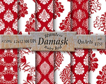 Ruby Red Damask Digital Paper Pack: Raspberry Red Printable Scrapbook Backgrounds, Deep Red Invitation Paper, Dark Red Seamless Backdrops