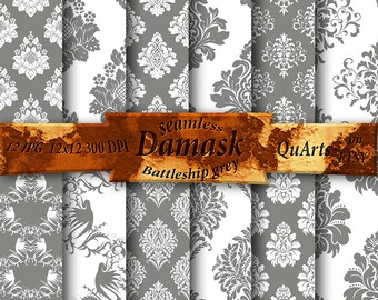 Scrapbooking Paper Gray Damask Digital: Gray Damask Paper, Gray and White Damask, Gray Damask Background, Gray Damask instant Download