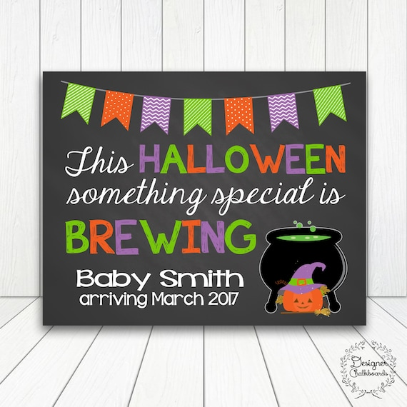 HALLOWEEN WITCHS BREW Chalkboard Pregnancy Announcement