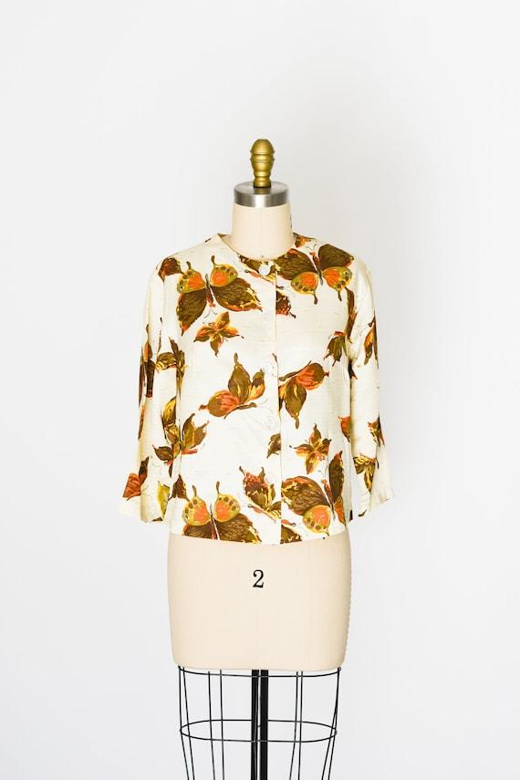 "Vintage 1960s Novelty Print Silk Blouse/Bust 36"""