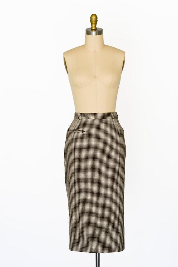 "Vintage 1950s Houndstooth Skirt/Waist 28"""