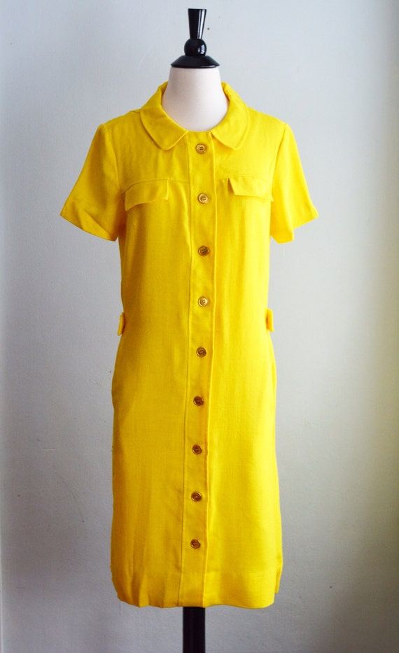 1960's Peter Pan Collar Shift Dress/Waist 28""