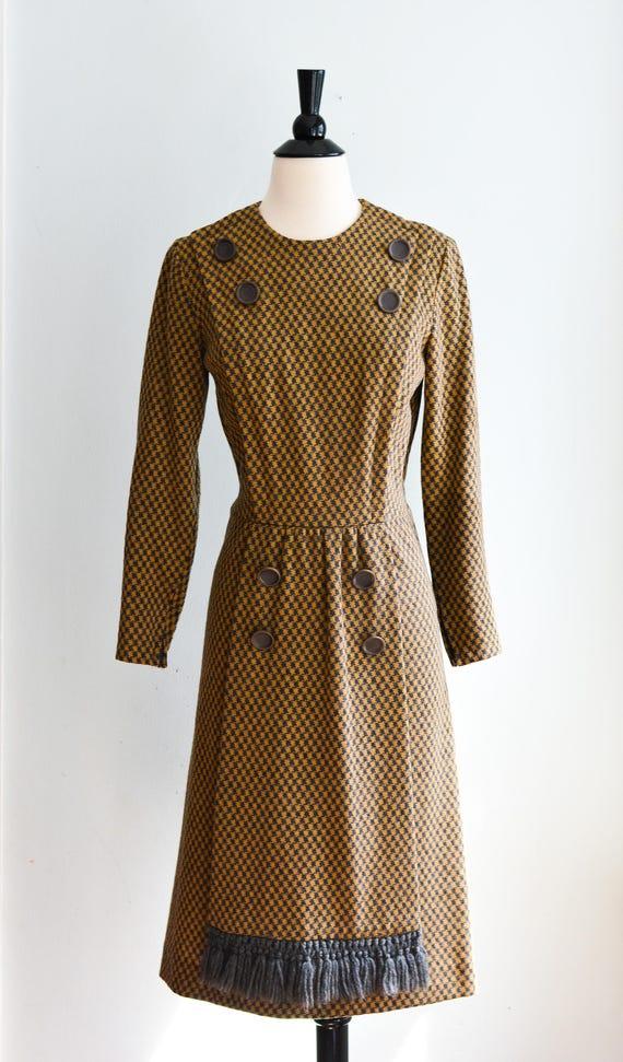 """Vintage 1960s Herringbone Dress by Carlyle 28"""" Wai"""