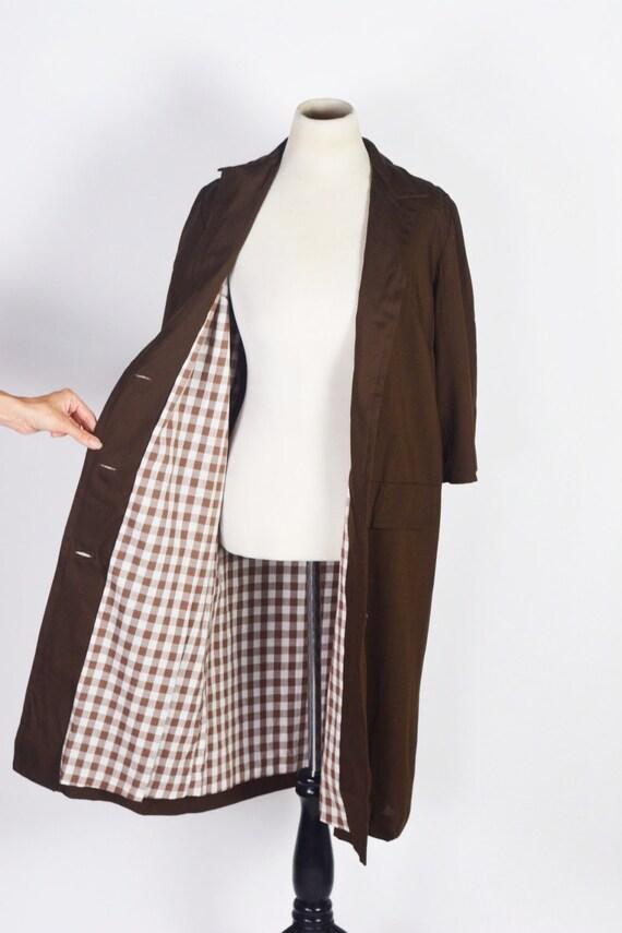 Vintage 1950's/60's Milk Chocolate Linen Coat with