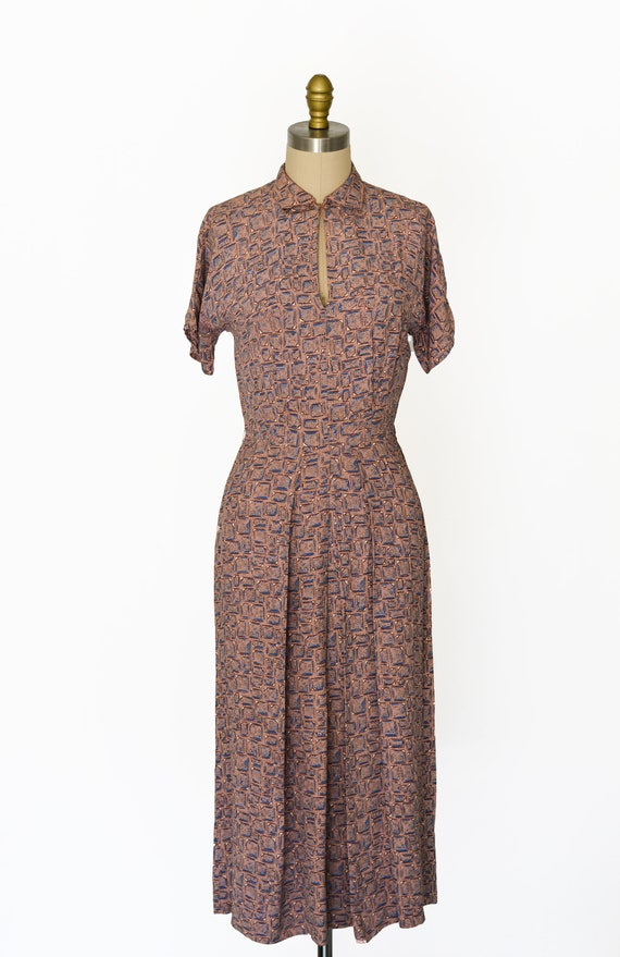 Vintage 1940s Novelty Print Dress/Waist 26""