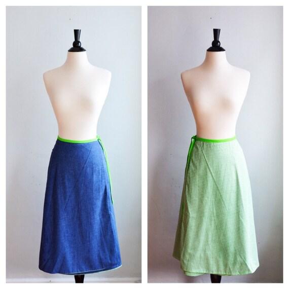 """1960's Reversable Wrap Skirt/Waist 28"""""""