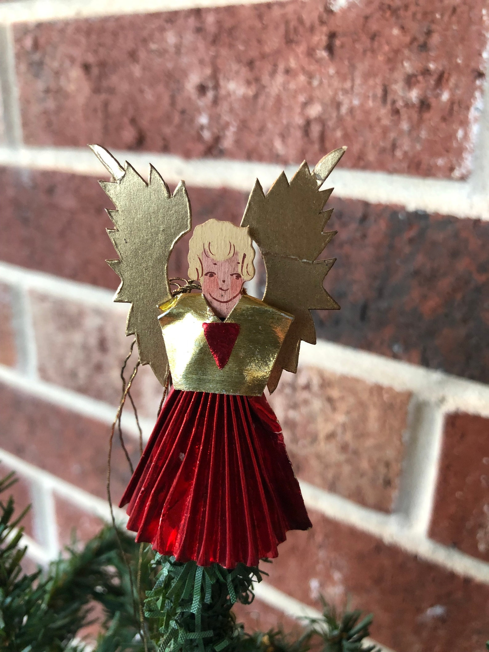 Vintage German Angel Tree Topper, Ornament, Handpainted Wooden Head, Red Foiled Pleated Paper Gown, Gold Foiled Paper Wings