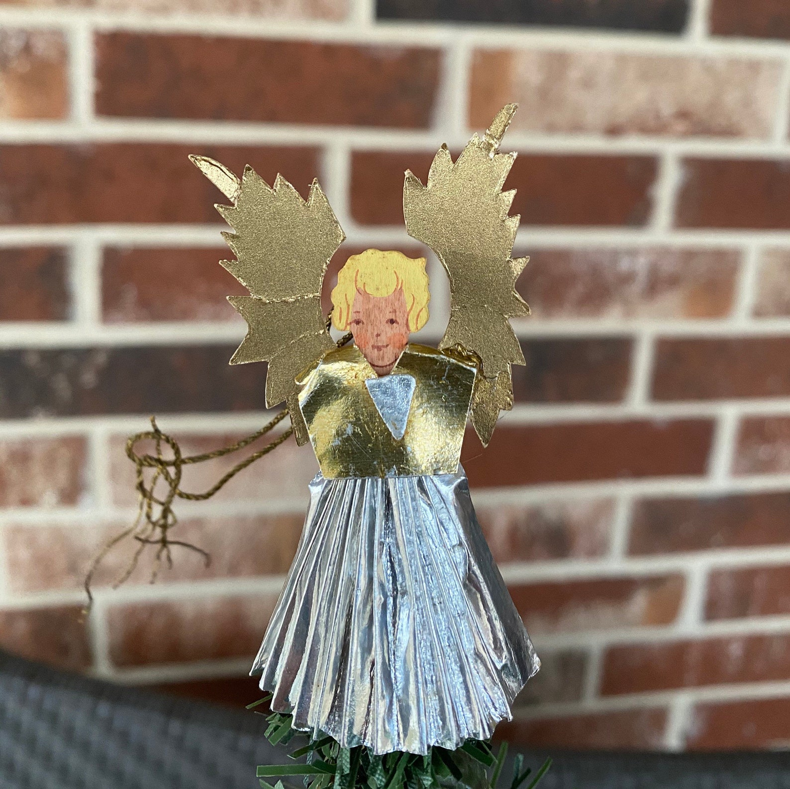 Vintage German Angel Tree Topper, Ornament, Handpainted Wooden Head, Silver Foiled Pleated Paper Gown, Gold Foiled Paper Wings