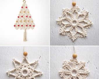 Macrame tutorials / Christmas Pack = Christmas tree + 3 snowflakes / 3 Stars / DIY kit / PDF pattern / Beginner level / English and French