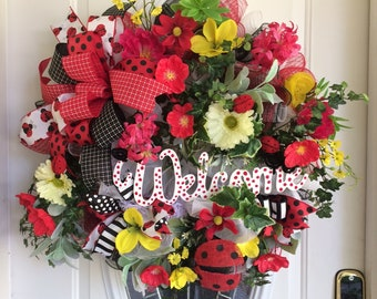 a7326c6063c0 Large Summer Front Door Wreath Floral Grapevine Wreath