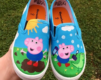 80c6ddd0553 Custom George Pig Canvas Shoes - Personalized George Pig Gifts - Toddler  Birthday Party Shoes - George Pig Party