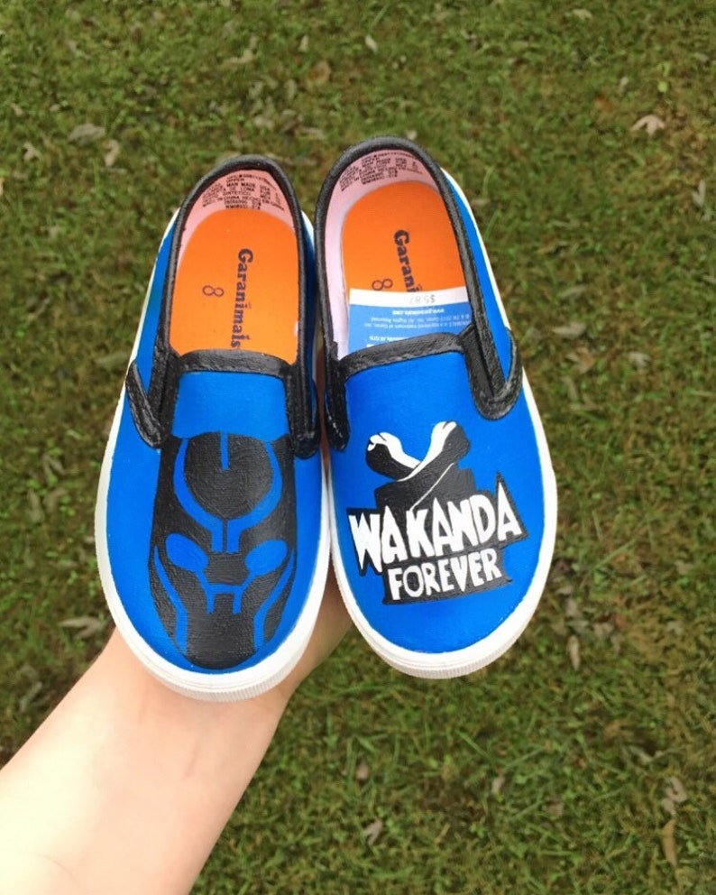 Black panther painted shoes Customized black panther shoes  a82974915