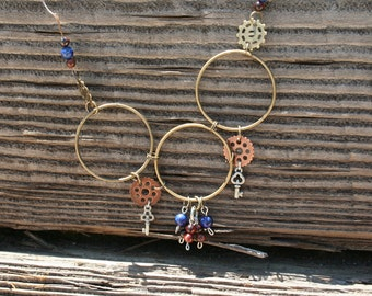 Steampunk Gear Necklace with Tiger Eye and Lapis Lazuli Beads (Long)