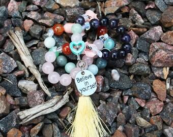 Self Love and Self Care Rose Quartz Pagan and Heathen Prayer Beads