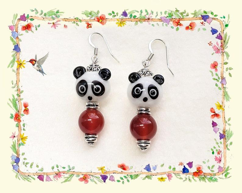 Lampwork Earrings Glass Earrings Hypoallergenic Earrings Lampwork Panda Earrings Lead Free Earrings Bear Earrings Whimsical Earrings