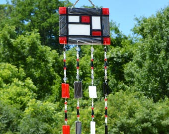 Fused Glass Wind Chimes Red Black White | Wall Hanging Sun Catcher | Mondrian Glass Wind Chimes | Unique Housewarming and Birthday Gifts