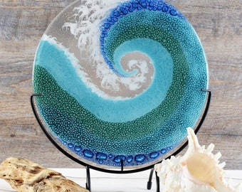Fused Glass Art Panel Round Crashing Ocean Waves | Rolling Breaking Wave Sea Blue Glass | Beach Surf Theme | Unique Birthday Gifts