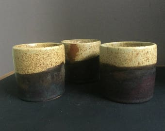 Three wheel thrown tumblers.  Earthy colourings, made with love and joy.