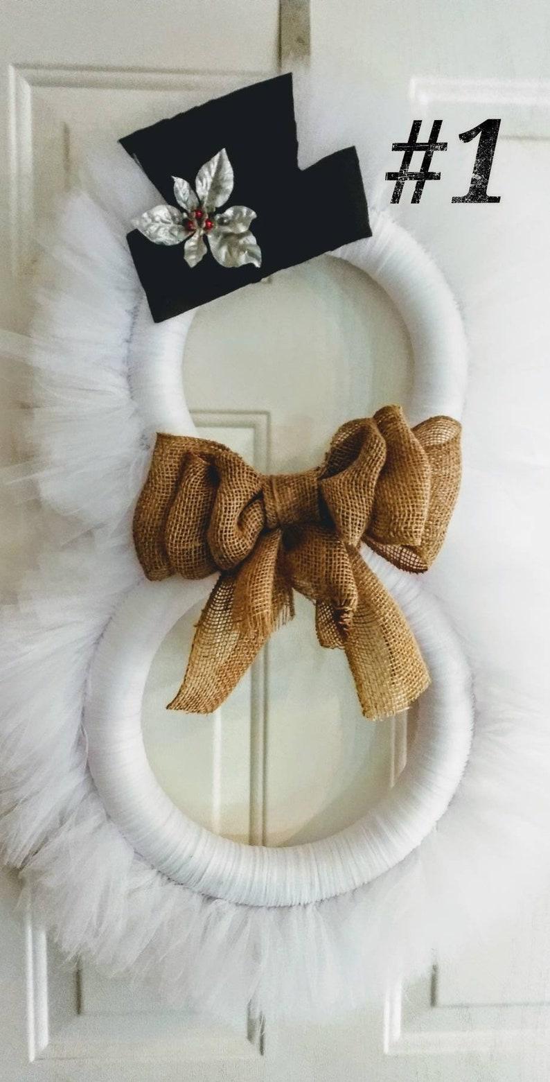 NEW Snowman Tulle Winter Wreath image 0