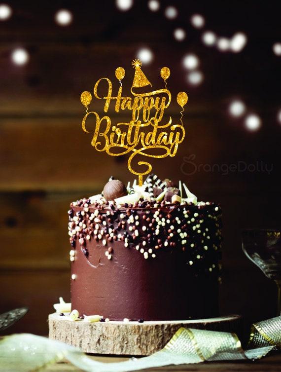 Awesome Happy Birthday Cake Topper Gold Mirror Acrylic Monogram Etsy Funny Birthday Cards Online Alyptdamsfinfo