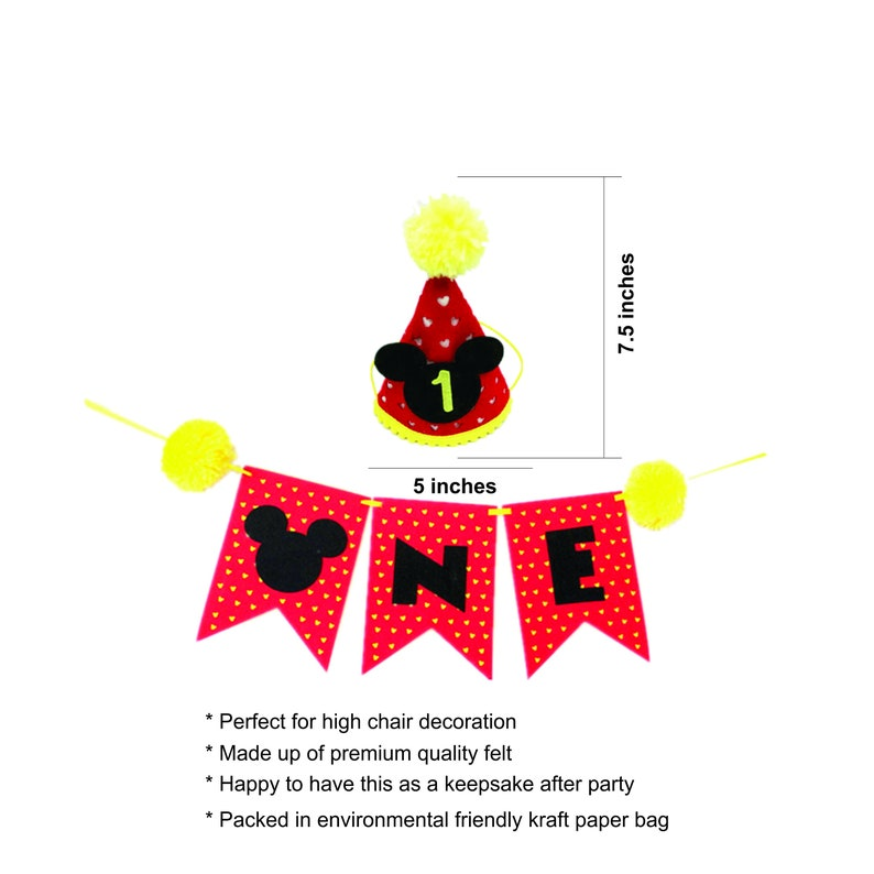 Mickey Mouse 1st Birthday Party Hat High Chair One Banner