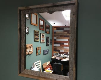 Barnwood Reclaimed Wood  Mirror in Box Frame - 20 in. x 23 in. (FREE SHIPPING)