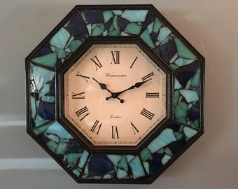 Sea Glass Framed Wall Clock