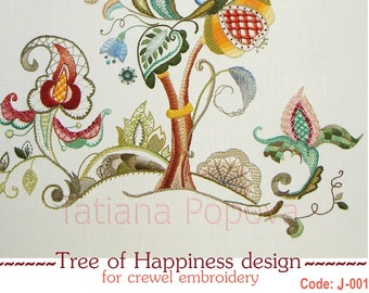 Tree of Happiness embroidery design for crewel embroidery with stitch guide and instructions