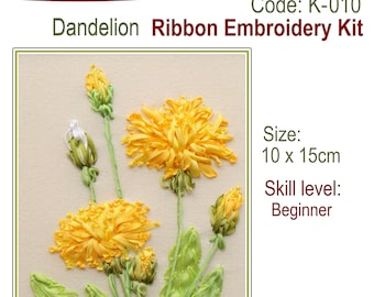 Dandelion ribbon embroidery kit with natural silk ribbon and detailed instructions