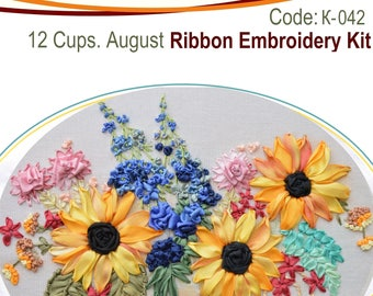 12 Cups. August ribbon embroidery kit with natural silk ribbon and detailed instructions