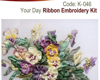 Your Day ribbon embroidery kit with natural silk ribbon and detailed instructions