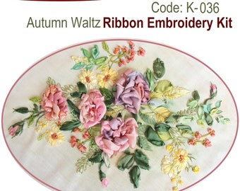 Autumn Waltz ribbon embroidery kit with natural silk ribbon and detailed instructions
