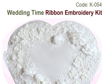 Wedding Time ribbon embroidery kit with natural silk ribbon and detailed instructions