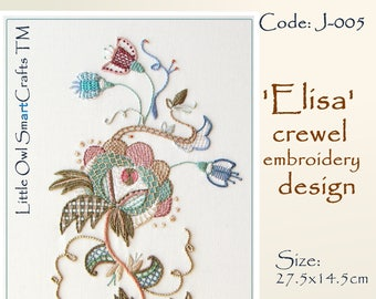 Elisa design for crewel embroidery
