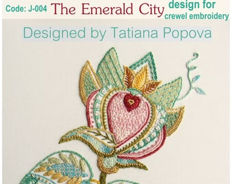 The Emerald City design for crewel embroidery with stitch guide and instructions