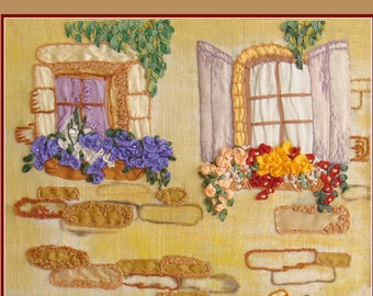 Finished wall hanging ribbon embrodiery design, 'Once in an Old Town Street'.