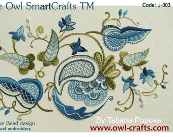 The Blue Bead design for crewel embroidery