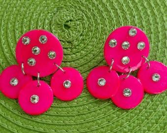 Pink Neon Trio Earrings