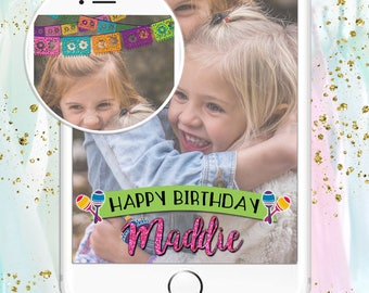 Snapchat Filter / GeoFilter - Custom Fiesta Happy Birthday Party Glitter Letters & Papel Picado banners! Wedding Bachelorette Bridal - SALE!