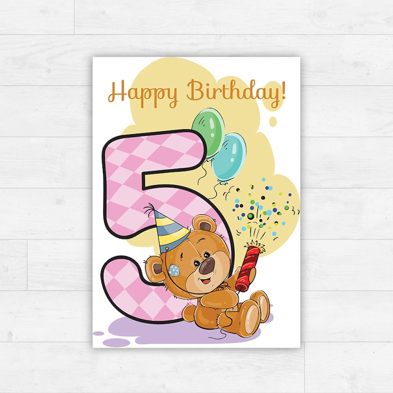 Printable Happy Birthday Card Instant Download Illustrated