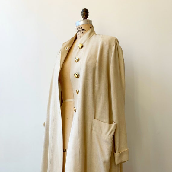 Pale Khaki Band Collar Duster ~ Vintage 1930s 1940