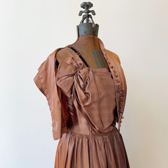 Copper Pinstripe Dress Set ~ Vintage 1940s Swingy