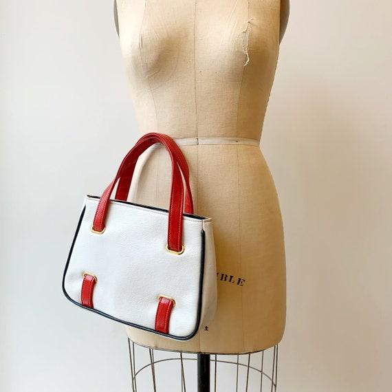 White, Red & Navy Blue Handbag ~ Vintage 1960s Mod