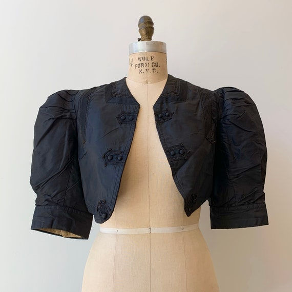 Gibson Girl Cropped Jacket ~ Antique 1890s Puff Sl