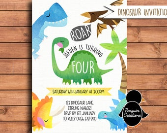 Dinosaur Birthday Invitation Watercolour Party Baby Shower